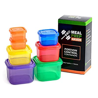 Meal Prep Haven 7 Piece Multi-Colored Portion Control Container Kit with Guide