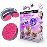 Anti-Cellulite MASSAGER SET w/ Roller & Brush Mitt for Effective Cellulite Treatment and Reduction. Remove Toxins, Increase Circulation and Tighten Skin on Legs, Arms, Belly, Thighs & Hips.