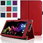 RCA 7 Voyager Case - HOTCOOL Slim Classic PU Leather Folio Case For RCA 7 Voyager Tablet 8GB Quad Core Tablet, Red