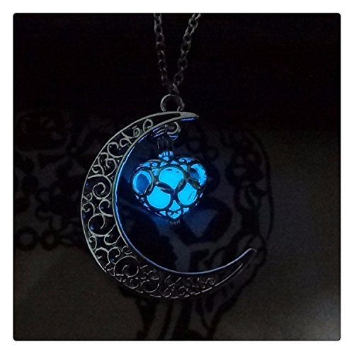 1 X Crescent Moon Heart Wishing Box Glow in the Dark Necklace,charm Crescent Moon Glow Pendant Necklace,halloween Jewelry,custom Necklace,personalized Necklace, Children Necklace (1) (Custom Jewelry Necklace compare prices)