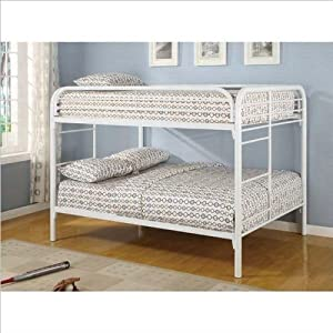 Coaster rustic white metal full over full bunk bed amazon co uk kitchen amp home