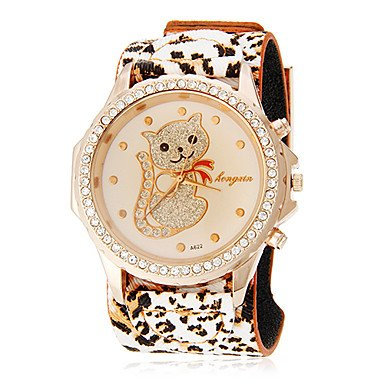 M.M.Women'S Diamond Lovely Cat Pattern Leopard Print Rubber Band Quartz Analog Wrist Watch (Assorted Colors)