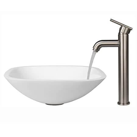 VIGO Square Shaped White Phoenix Stone Vessel Sink and Seville Vessel Faucet with Pop Up, Brushed Nickel