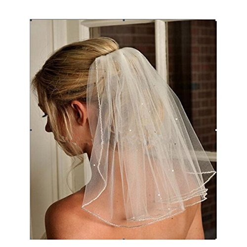 Fair Lady Ivory Simple 1 Layer Pencil Edge with Sequined Short Wedding Veil