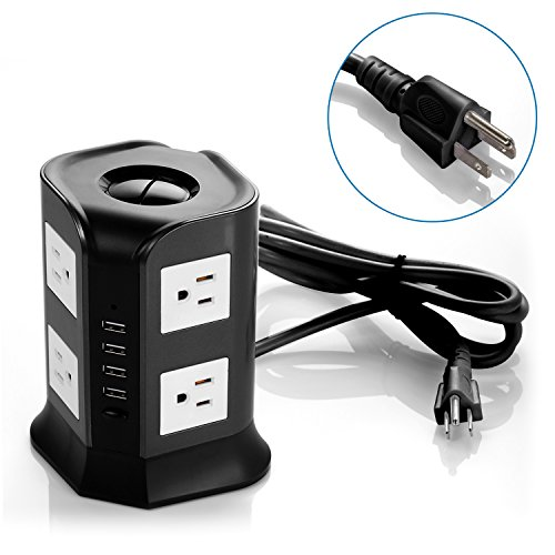 Safemore Smart 8-Outlet with 4-USB Output Surge Protection Power Strip (Black and White)