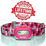 Headlamp Flashlight with LED Red Light. Brightest Blitzu i2 Headlight for Kids, Men, and Women. Waterproof. Perfect Head Light For Running, Walking, Reading, Camping, Home Projects and Emergency PINK