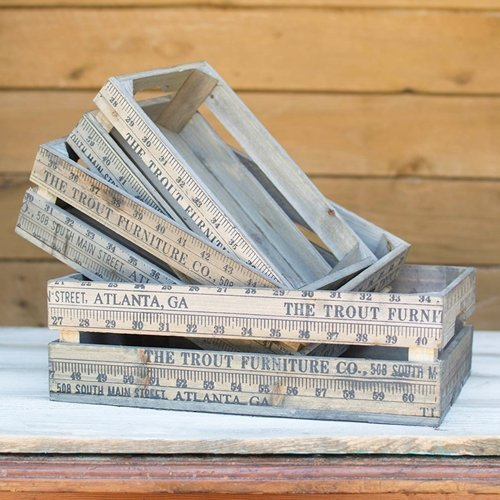 Rectangular Vintage Wooden Yardstick Crates, Rustic Brown, Set of 3