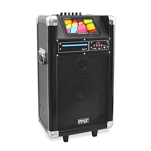 Pyle Pkrk10 400 Watt, 10-Inch Woofer And 7-Inch Screen Karaoke Vibe Bluetooth Multimedia Pa System With Dvd Player And Wireless Microphone
