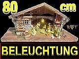 Große Weihnachtskrippe + Zubehör, 80 cm massiv Vollholz Massivholz mit 12 PREMIUM FIGUREN + Laterne + Lämpchen + Trafo + Anschlusskabel + 5er – Verteiler (Beleuchtungsset): Weihnachtskrippen + Krippenfiguren + LICHT KOMPLETT MIT BELEUCHTUNGSSET K80MFTL