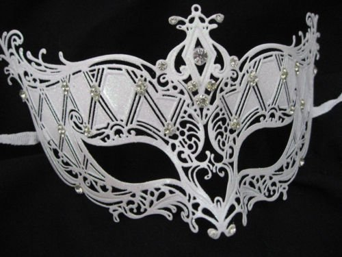 [Snow White Laser Cut Metal Venetian Mask Bridal with Rhinestone Ice Queen Prom] (Ice Queen Makeup)