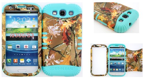 Hybrid Impact Rugged Cover Case Brown Camo Mossy Leaf Branch Hard Plastic Snap On Over Baby Teal Silicone For Samsung Galaxy Slll S3 Fits Sprint L710, Verizon I535, At&T I747, T-Mobile T999, Us Cellular R530, Metro Pcs And All front-853996