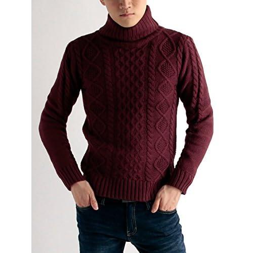 (ラフタス)Rafftas タートルネック ケーブル ニット M サイズ ワイン 秋 冬 春 メンズニット メンズセーター デザイナーズ メンズ