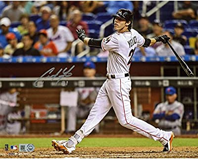 "Christian Yelich Miami Marlins Autographed 8"" x 10"" Hitting Photograph - Fanatics Authentic Certified"