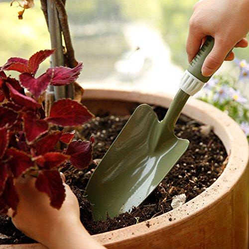 Worth Garden spatola da giardino, attrezzi manuali da giardinaggio, testa di acciaio al carbonio w/ morbida impugnatura PE