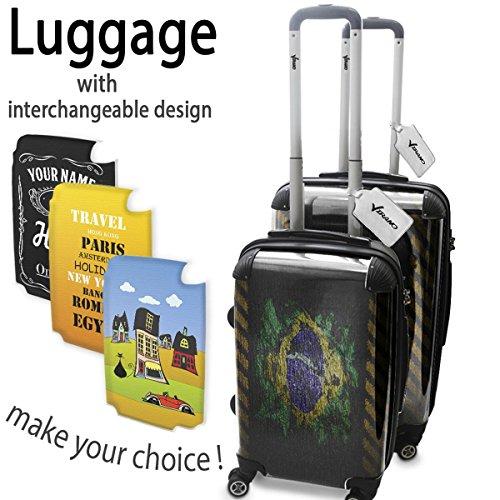 Graffiti Bandiera Brasile, Set da 2 Luggage Valigia Bagaglio Ultraleggero Trasportabile Rigido 4 Route Adatto con Disegno Colorato. Dimensione: Formato Cabina S, M