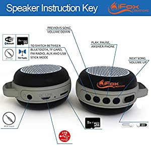 iFox IFS303 Ultra Portable Wireless Bluetooth Speaker for iPhone iPad iPod Android or PC with FM Radio, AUX, SD & Speakerphone, Outdoor and Indoor