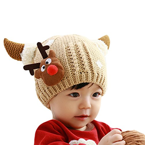 Baby Knit Crochet with Cashmere Christmas Deer Hat Wool Keep Beanie Cap - 1