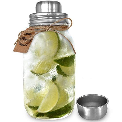 Premium Large 32 Ounce Mason Jar Cocktail Shaker | Iconic Made in USA