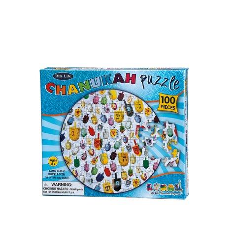 Rite-Lite Judaica 100-Piece Round Chanukah Jigsaw Puzzle - 1