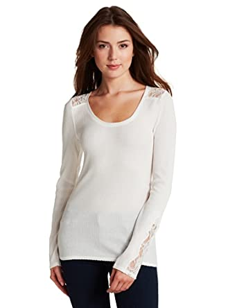 Lucky Brand Women's Inset Neckline Shirt, White, X-Small