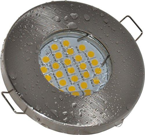 Einbaustrahler-Aqua-IP65-230Volt-GU10-5Watt-LED-Leuchtmittel-warmweiss-450Lumen-Bad-Sauna-Vordach-Keller-Nass-Feuchtraum