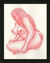 Original Art Boudoir BBW Voluptuous Curvy Woman Rouge Nude Female Watercolor Painting with black wood frame