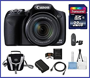 Canon Powershot SX530 HS 16.0 MP Digital Camera with 50x Optical Zoom and 1080p Full HD Video Bundle Kit; Includes: NB-6L Battery, 32GB SDHC High Speed Memory Card, Small Camera Bag, Mini Tripod, Card Reader, Lens Cleaning Kit, Memory Card Wallet and Mini