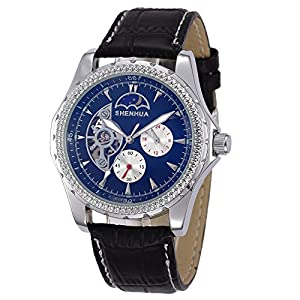 GBI Men's Luxury PU Leather Automatic Mechanical Wrist Watches with 24 Hours Smal Dial-Black