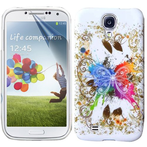 Beeshine Protective Soft Rubber Skin Flexible Tpu Gel Case Cover With Lcd Film Screen Protector For Samsung Galaxy S4 Siv I9500 (Colorful Butterfly Pattern)