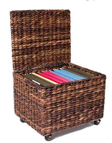 BirdRock Home Seagrass Rolling File Cabinet