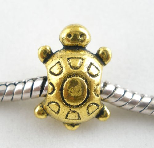 Gold Tone Turtle Bead Charm Spacer Bead Fits
