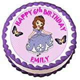 Personalised Disney Princess Sofia The First Edible Birthday Icing Cake Topper 7.5