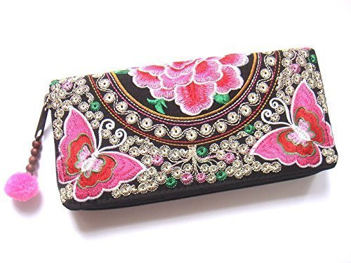 Wallet by WP Embroidery Butterfly Flower Zipper Wallet Purse Clutch Bag Handbag Iphone Case Handmade for Women, Pink Wallet (Cole Haan Key compare prices)