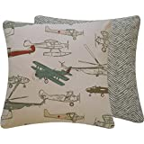 Chloe & Olive Flight School Collection Airplanes and Helicopter Decorative Pillow Cover, 18-Inch, Gray