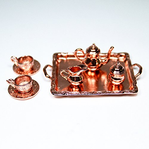 8Pcs Copper Tableware Tea/Coffee Set 1:12 Metal Miniature Doll House Accessories