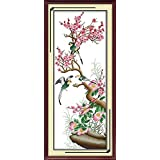 Zamtac Plum,Orchid,Bamboo,Chrysanthemum Cross Stitch Kits 11CT Printed Fabric 14CT Counted Canvas DIY Chinese Embroidery Needlework - (Color: H102, Cross Stitch Fabric CT Number: 11CT White Cloth) (Color: H102 / 11CT White Cloth)