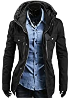 sulandy@ Men's Military Slim Fit Jacket Rider Zip Button Casual Long Sleeve Blazer Coat Outwear coat