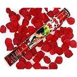 2 x Rosen Regen mit roten Rosenblättern 60 cm lang Konfetti Kanone Shooter Hochzeit Konfettibome Partypopper