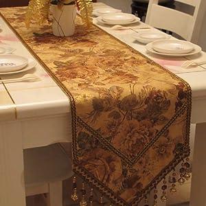Diaidi gold flower print table runner elegant handmade for 102 table runner