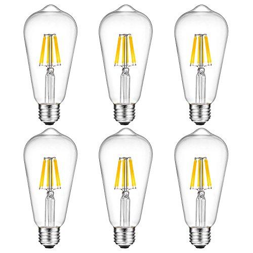 Vintage Light Bulb,Oak Leaf 6W ST64 Antique Style Edison Bulb LED Dimmable Light 60W Equivalent,700lm,5000K,Daylight,E26 Screw Base,Pack of 6 (Edison Bulb Chandelier E26 compare prices)