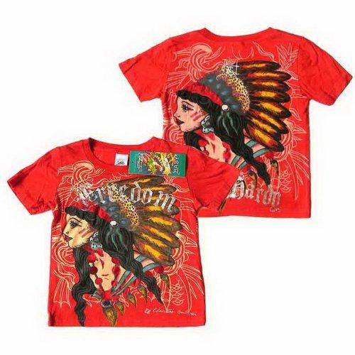 (エド・ハーディー)ED HARDY 半袖T Tシャツ トップス インディアン ネイティブ / 赤 エドハーディー 0050 5IG528DIN インデアン 6-9カ月 [並行輸入品]