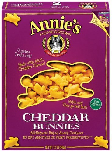 Annie's Homegrown Cheddar Bunnies Baked Snack Crackers, Original, 12-Ounce Boxes (Pack of 12)