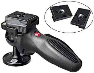 Manfrotto 324RC2 Light Grip Joystick Tripod Ball Head with Two Replacement Quick Release Plates for the RC2 Rapid Connect Adapter ...
