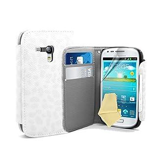 Weiß Supergets Hülle für das Samsung Galaxy S3 Mini I8190 Buchstil Klapptasche in Lederoptik mit Karteneinschub und Magnetverschluß Etui Flip Case, Schutzfolie, Reinigungstuch, Mini Eingabestift
