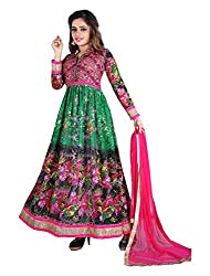 Arya Dress Maker Women's Net Unstitched Dress Material (Green and Pink)