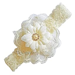 Ivory lace headband for baby girls (3-6months, ivory)