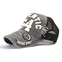ililily Distressed Vintage Cotton Authentic 54 Embroidered Precurved Bill Mesh Cap with Adjustable Strap Snapback Trucker Hat (ballcap-584-4)