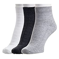 Hans Executive Ankle Socks for Men (Pack of 3) (White, Grey and Grey)