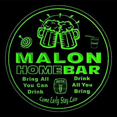 4x ccq28042-g MALON Family Name Home Bar Pub Beer Club Gift 3D Engraved Coasters