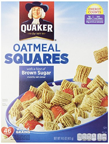 Quaker Oatmeal Squares, Crunchy Oatmeal Cereal with a Hint of Brown Sugar, 14.5-Ounce Boxes (Pack of 4) - 1